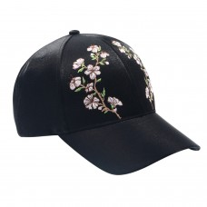 Hatphile Womens Satin Floral Embroidery Black Dad Cap