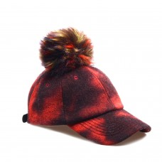 Hatphile 6 Panel Baseball Cap Faux Fur Pompom Red