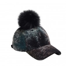 Hatphile 6 Panel Baseball Cap Faux Fur Pompom Green