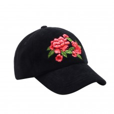 Hatphile Womens Velvet Floral Embroidery Black Dad Cap
