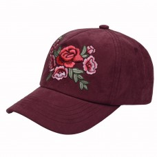 Hatphile 6 Panel Dad Hat Baseball Cap Faux Suede Floral Embroidery Burgundy
