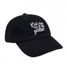 Hatphile 6 Panel Dad Hat Baseball Cap Cat Hair is My Glitter Black