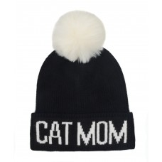 Hatphile Cat Lover Stretchy Cat Mom Faux Fur Pompom Knit Beanie Skully Toque Black