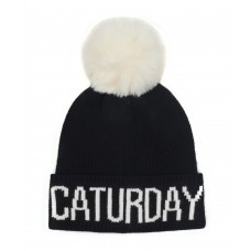 Hatphile Cat Lover Stretchy Caturday Faux Fur Pompom Knit Beanie Skully Toque Black