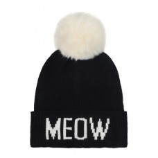 Hatphile Cat Lover Stretchy Meow Faux Fur Pompom Knit Beanie Skully Toque Black