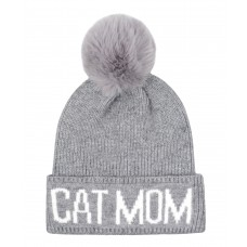 Hatphile Cat Lover Stretchy Cat Mom Faux Fur Pompom Knit Beanie Skully Toque Grey