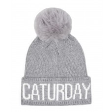 Hatphile Cat Lover Stretchy Caturday Faux Fur Pompom Knit Beanie Skully Toque Grey
