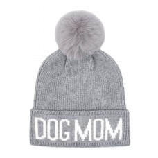 Hatphile Dog Lover Stretchy Dog MOM Faux Fur Pompom Knit Beanie Skully Toque Grey