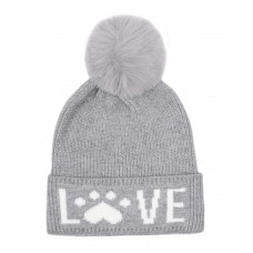 Hatphile Cat Lover Dog Lover Gift Love Paw Faux Fur Pompom Knit Beanie Skully Toque Grey
