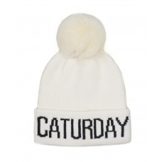 Hatphile Cat Lover Stretchy Caturday Faux Fur Pompom Knit Beanie Skully Toque White