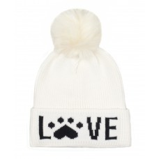 Hatphile Cat Lover Dog Lover Gift Love Paw Faux Fur Pompom Knit Beanie Skully Toque White