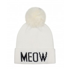 Hatphile Cat Lover Stretchy Meow Faux Fur Pompom Knit Beanie Skully Toque White