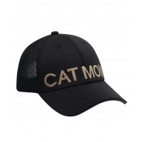 Hatphile Embroidered Cat Mom Trucker Hat Black