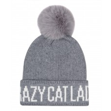 Hatphile Crazy Cat Lady Faux Fur Pompom Knit Beanie Skully Toque