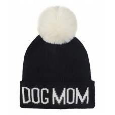 Hatphile Dog Lover Stretchy Dog MOM Faux Fur Pompom Knit Beanie Skully Toque Black