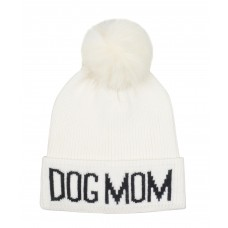 Hatphile Dog Lover Stretchy Dog MOM Faux Fur Pompom Knit Beanie Skully Toque White