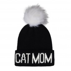 Hatphile Trendy Warm Soft Stretchy Cat Mom Faux Fur Pompom Knit Beanie Skully