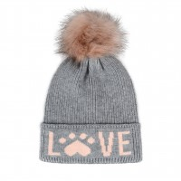 Hatphile Cat Lover Dog Lover Gift Love Paw Faux Fur Pompom Knit Beanie Skully Toque