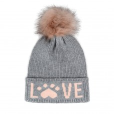 Hatphile Cat Lover Dog Lover Gift Love Paw Faux Fur Pompom Knit Beanie Skully Toque Grey Hat Pink Love