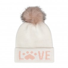 Hatphile Cat Lover Dog Lover Gift Love Paw Faux Fur Pompom Knit Beanie Skully Toque White Hat Pink Love