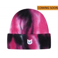 Hatphile White Cat Face Tie Dye Embroidery Knit Beanie Toque Hot Pink COMING SOON