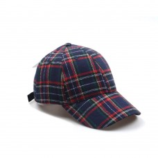 Hatphile 6 Panel Dad Hat Baseball Cap Faux Plaid Navy